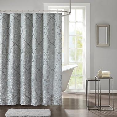 Madison Park LaVine Design Blue Shower Curtain, Jacquard Classic Shower Curtains for Bathroom, 72 X 72, Seaform