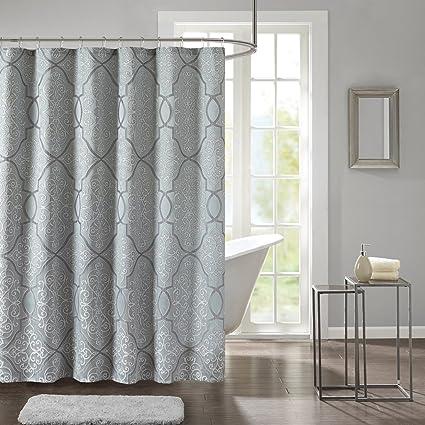 Madison Park LaVine Design Blue Shower Curtain Jacquard Classic Curtains For Bathroom 72