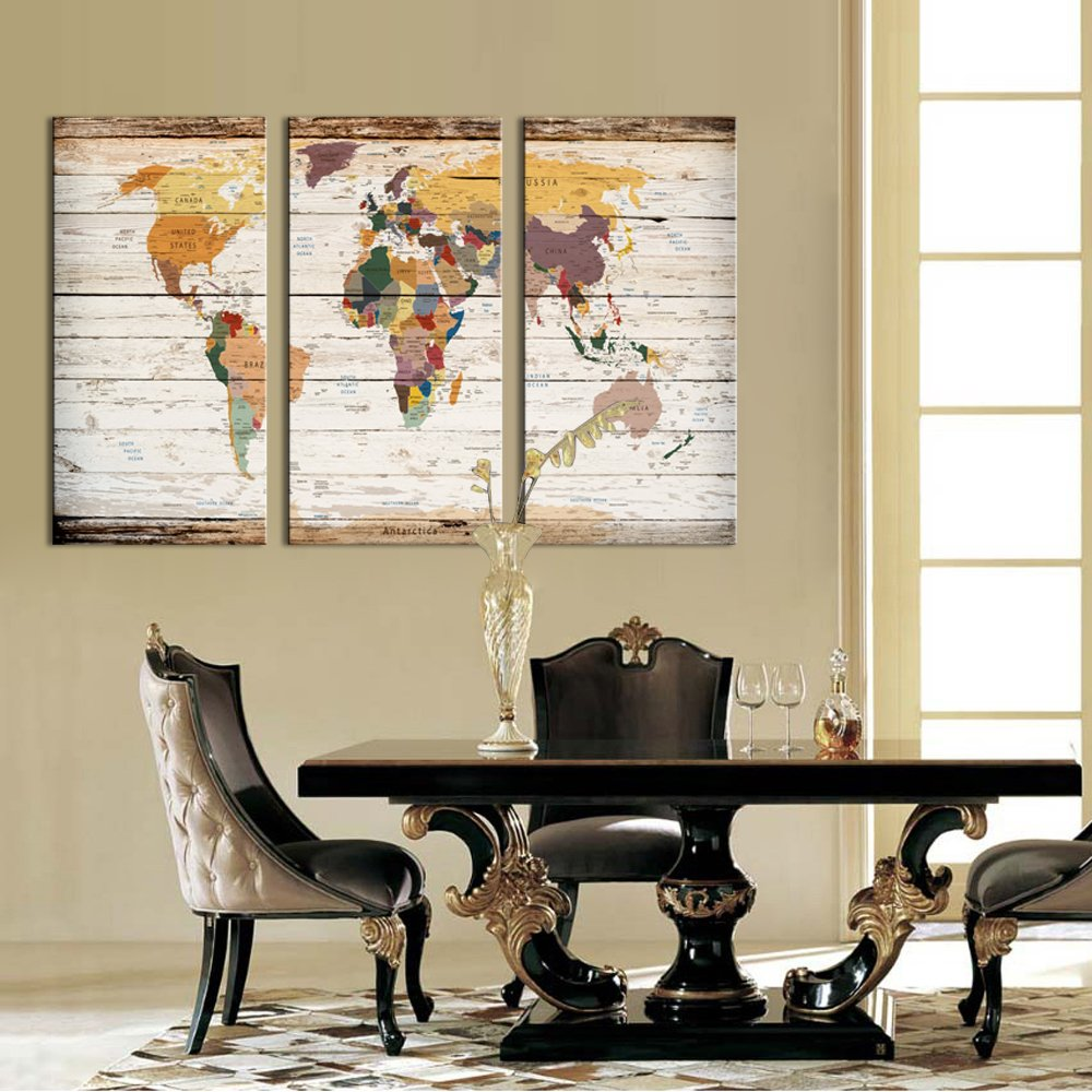 Visual Art Decor Large Vintage World Map Canvas Prints Atlas Framed Map Wall Decor Ready to Hang Modern Artwork for Living Room Office Wall Decoration 1