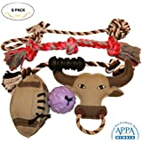 Dog Toys 6 Pcs Gift Set Variety Pack for Dogs Pet, Durable Teeth Cleaning Rope Chew Toys, Rubber Ball - Treat Dispensing Training Toy, Canvas Plush Squeaky, Nontoxic