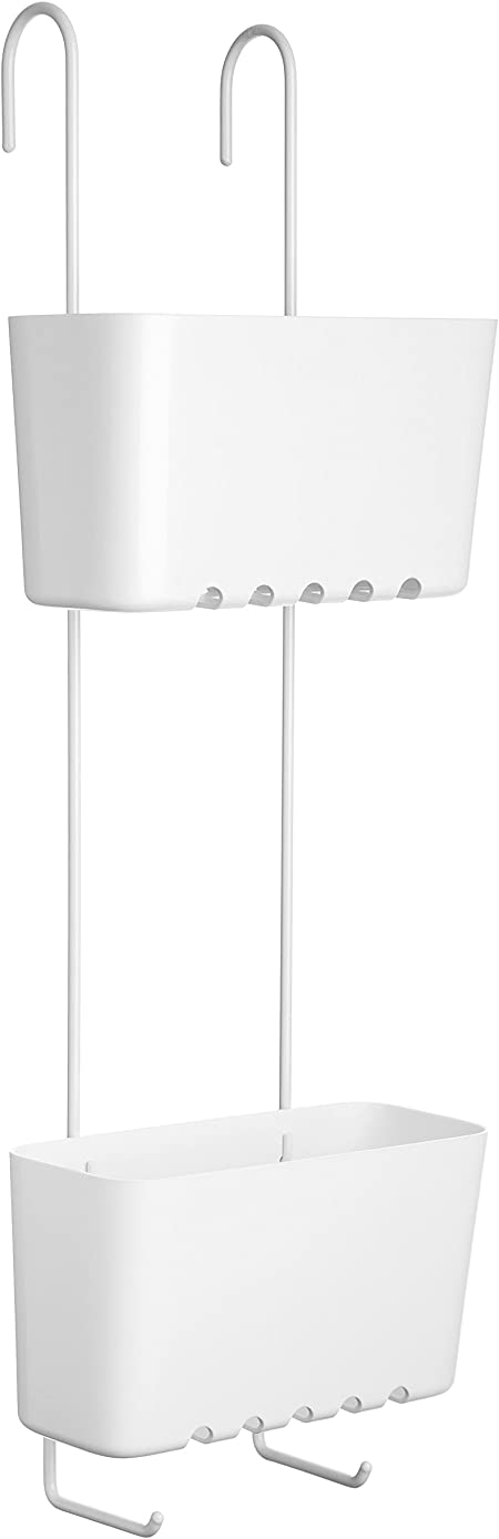 Tatay 4522101 Standard Duo Cesta organizadora de Ducha o bañera con Dos baldas Apta para Todo Tipo de mamparas, Blanco, 20 x 13 x 59 cm: Amazon.es: Hogar
