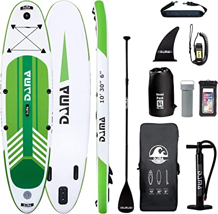DAMA Inflatable Stand up Paddle sup Board Board,fin,Carry Bag,Paddle,Hand Pump,Leash,Repairing kit,mobilephone Waterproof Bag,All Round Board,for Beginners Youth and Adult