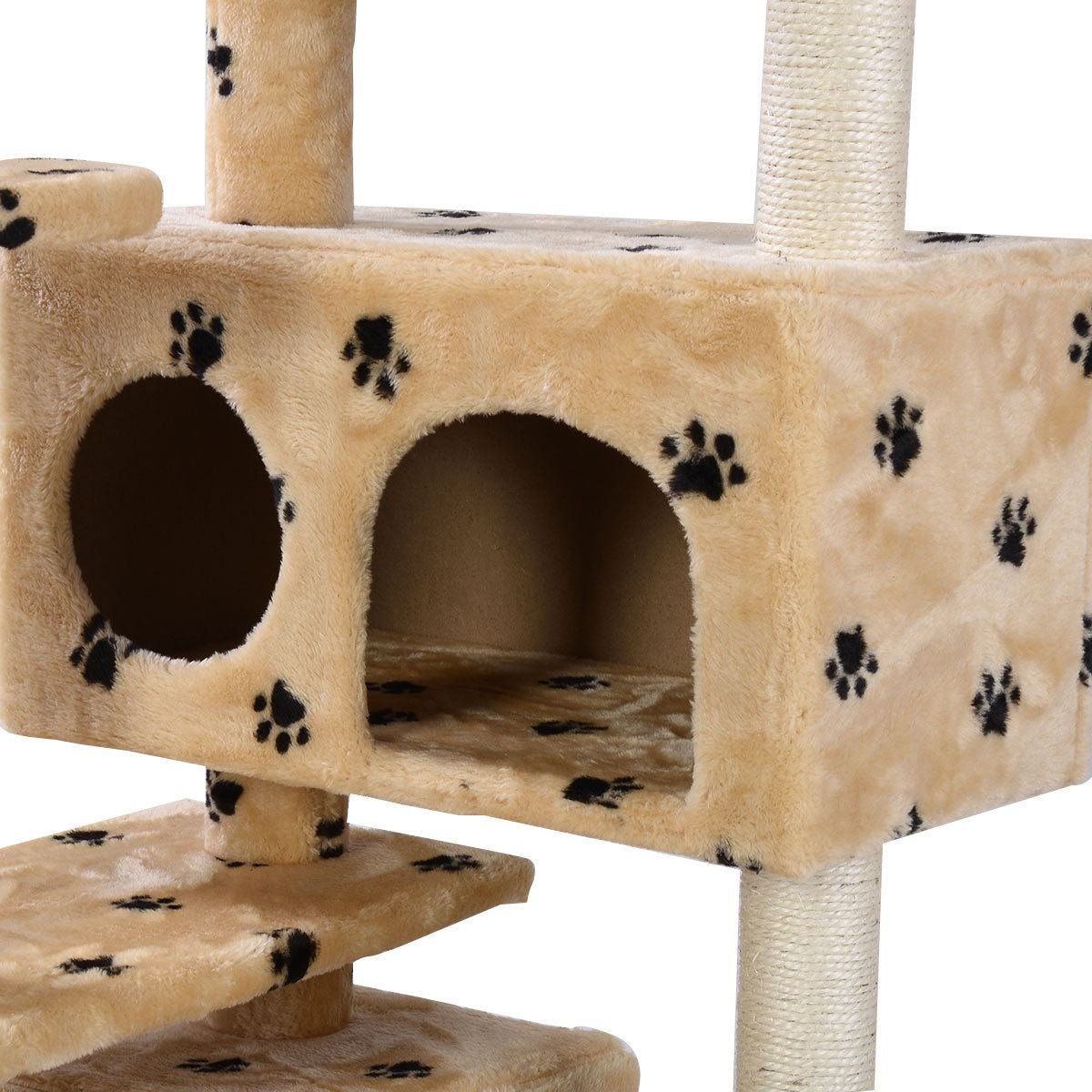 Amazon.com : New Cat Tree Tower Condo Furniture Scratch Post Kitty Pet House  Play Beige Paws : Pet Supplies
