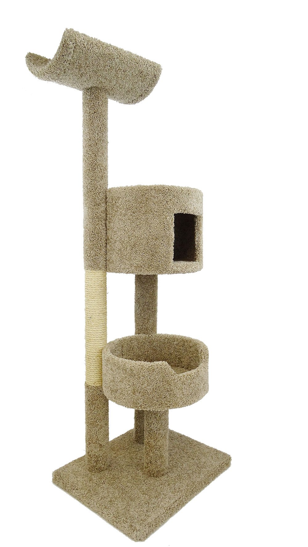 New Cat Condos 190117-Neutral Color Solid Wood Cat Tree Tower, Neutral, Large