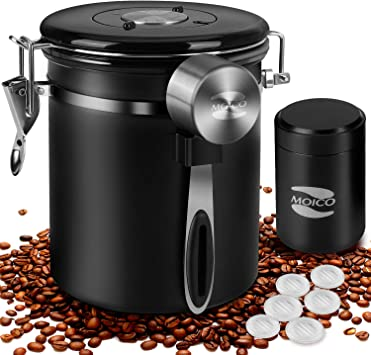 Coffee Canister, MOICO Stainless Steel Coffee Containers with One Way Co2 Valve, Scoop and Travel Jar, Airtight Coffee Storage Container for Ground Coffee, Tea, Sugar, 16oz+0.65oz (Black)