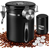 Coffee Container MOICO Coffee Stainless Steel Container-One Way Co2 Valve Airtight Coffee Canister with Coffee Scoop…