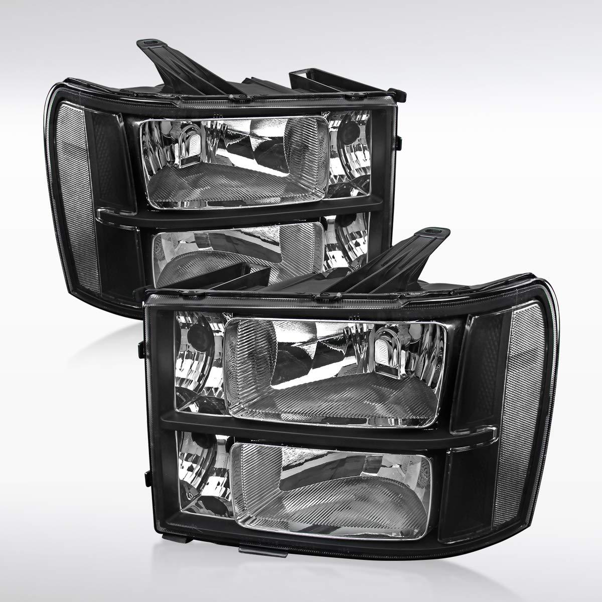 Autozensation For GMC Sierra 1500 2500 3500HD Euro Black Diamond Headlights Left+Right
