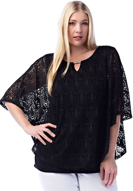 33c3fc5a1b5ee Top1  Araza Womens Plus Size Lace Overlay Kimono Shirt. Wholesale Price
