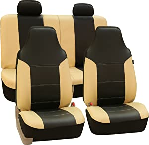 FH Group FH-PU103114 High Back Royal PU Leather Car Seat Covers Airbag & Split Beige/Black-Fit Most Car, Truck, SUV, or Van