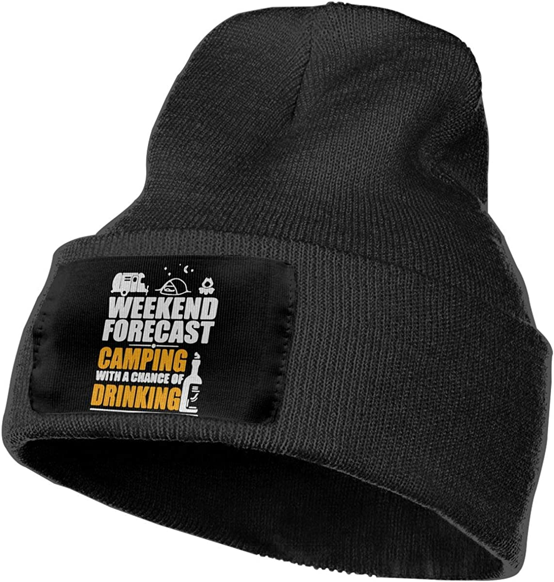 Weekend Forecast Camping with A Chance of Drinking Fashion Ski Cap Ydbve81-G Unisex 100/% Acrylic Knitting Hat Cap