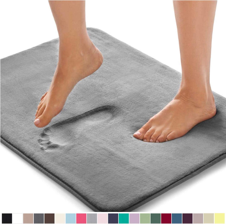 Gorilla Grip Original Thick Memory Foam Bath Rug, 42x24, Cushioned Soft Floor Mats, Absorbent Premium Bathroom Mat Rugs Rugs, Machine Washable, Luxury Plush Comfortable Carpet for Bath Room, Graphite