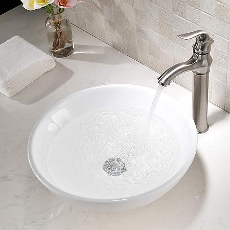 Vokim 16 9 Round White Ceramic Vessel Sink Modern Above Counter