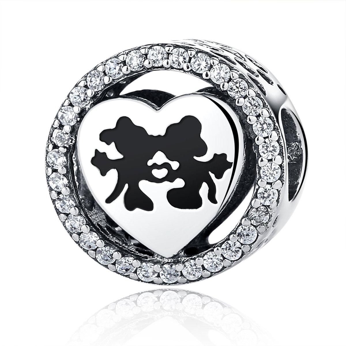 NINGAN Disney, Mickey & Minnie Love, Charm Clear CZ 925 Sterling Silver Charms Fit Pandora & Other European Charm