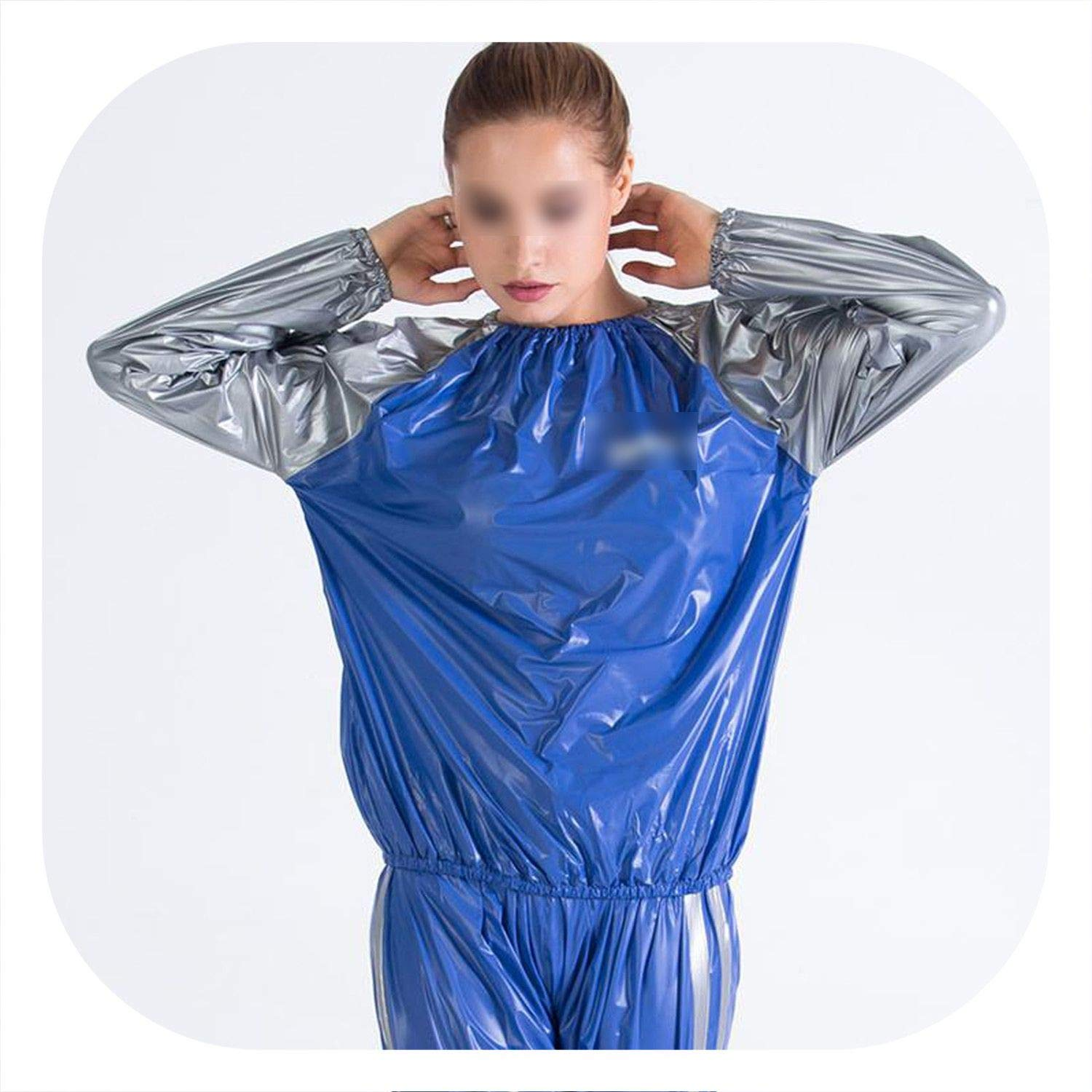 blue Large HeavyDuty Postpartum Fitness Mom Weight Loss Sweat Suit Sauna Gym Exercise AntiRip bluee and White