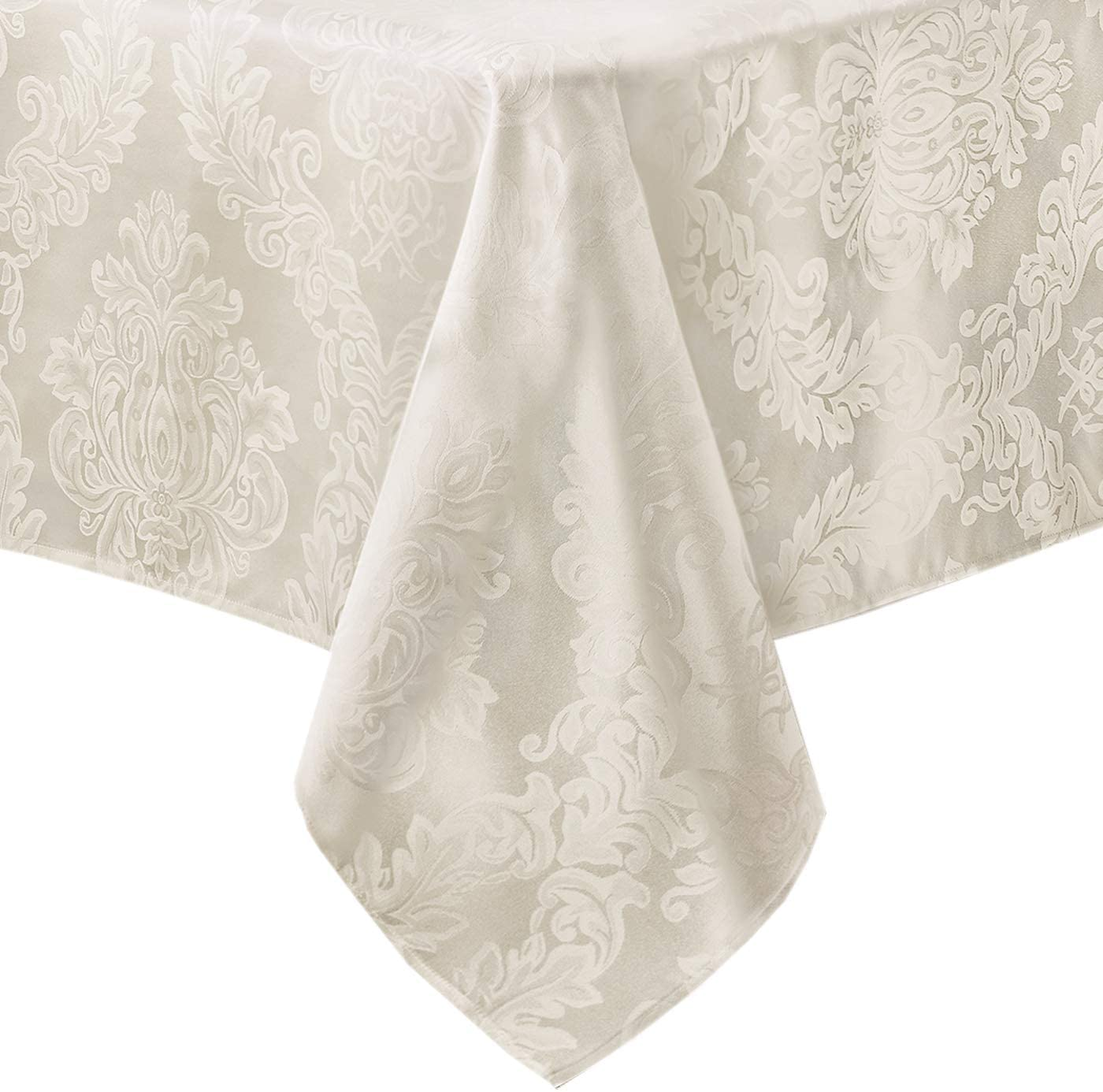 Newbridge Barcelona Luxury Damask Fabric Tablecloth, 100% Polyester, No Iron, Soil Resistant Dining Room, Party Banquet and Holiday Tablecloth, 52 Inch x 70 Inch Oblong/Rectangle, Antique White