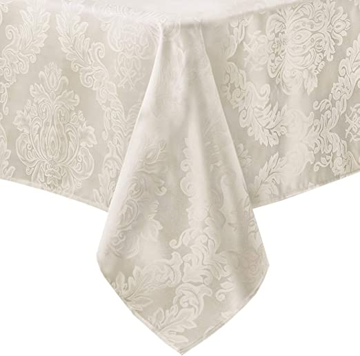 beige tan OVAL Tablecloth DAMASK Cafe Beige  heavy cotton blend 5 sizes