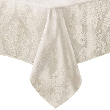 Newbridge Barcelona No-Iron Soil Resistant Fabric Damask Tablecloth - 70 Round - Antique White