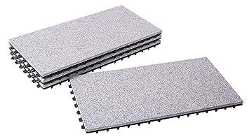 BodenMax® LLGRA001-GRY-3060 Dalles clipsables Granit classique Roche ...
