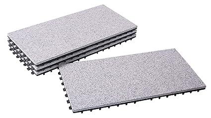 BodenMax® LLGRA001-GRY-3060 Dalles clipsables Granit classique Roche  naturelle Carreaux 30x60 cm Intérieur extérieur terasse jardin salle de  bain ...