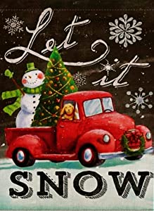 Dyrenson Home Decorative Christmas Garden Flag Let it Snow, Snowman Xmas Quote Yard Flag with Red Truck, Rustic Winter Snowflake Yard Decorations, Double Sided Seasonal Outdoor Flag 12 x 18 Holiday