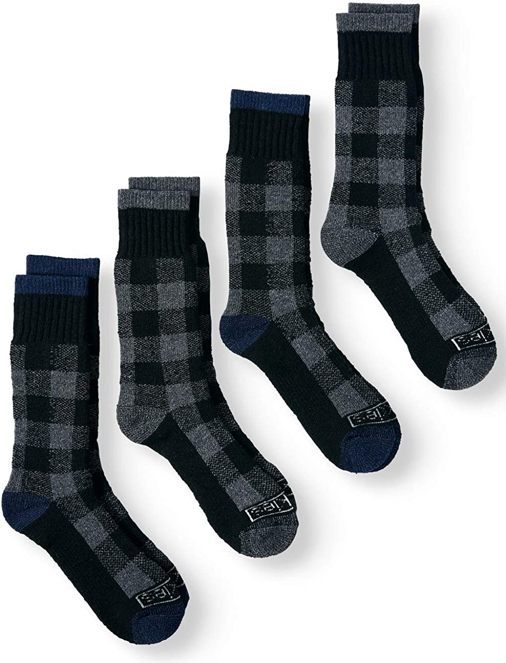 Dickies Premium Steel Toe Thermal Buffalo Plaid Wool Crew Socks (2-Pack) 10-13 (Charcoal Gray Plaid)