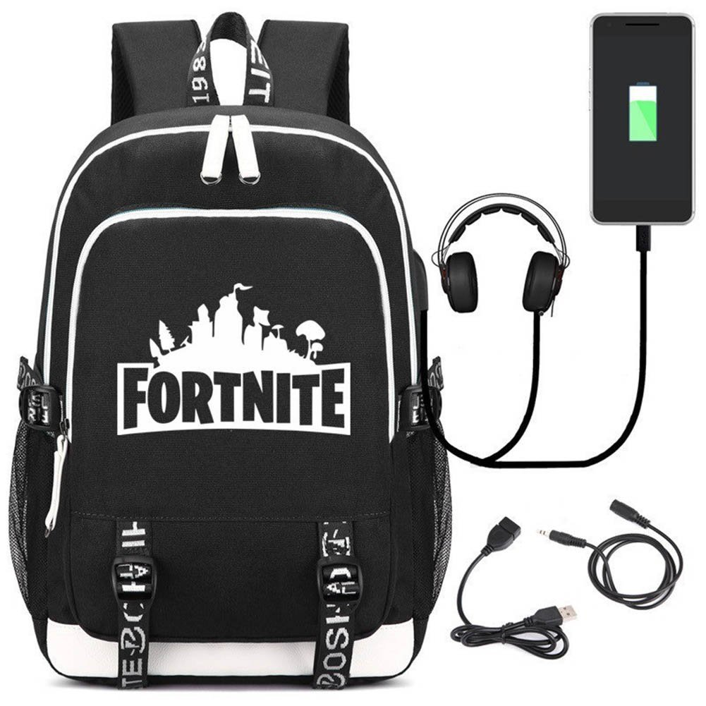 Aristory Fortnite Unisex School Backpack with USB Charging Port Bag for Kids Students Oxford Cloth(H01-BK)