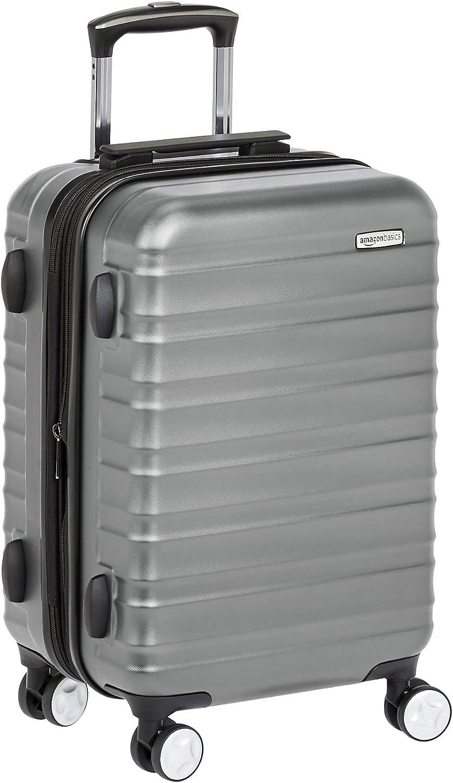 AmazonBasics - Maleta de mano rígida de alta calidad, con ruedas y cerradura TSA incorporada, 55 cm, Gris
