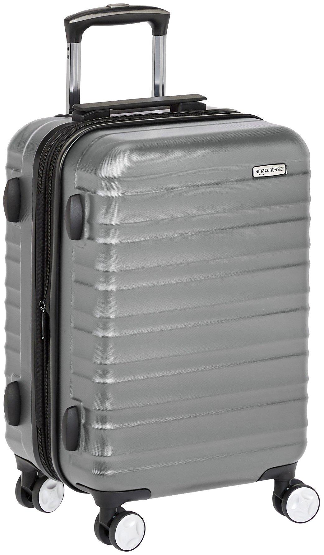 AmazonBasics Premium Hardside Spinner Luggage with Built-In TSA Lock - 20-Inch Carry-on, Grey