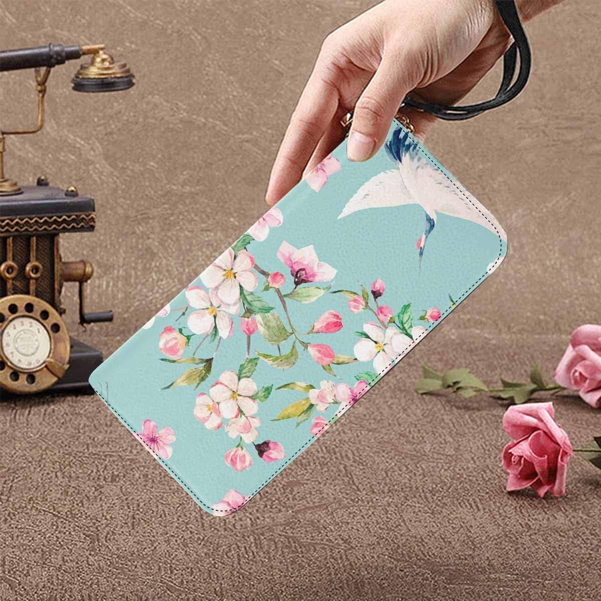 InterestPrint Womens Crane with Flowers Clutch Purse