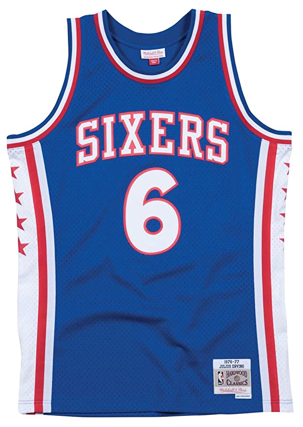 ff1c10835658 Amazon.com   Julius Erving Philadelphia 76ers Mitchell   Ness Swingman  Jersey Blue   Sports   Outdoors