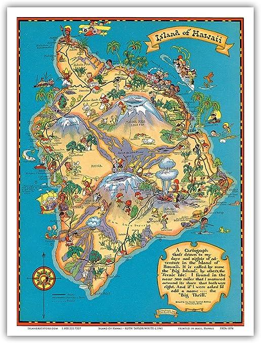 Hawaiian Island Of Hawaii Big Island Map Hawaii Tourist Bureau Vintage Hawaiian Colored Cartographic Map By Ruth Taylor White C 1941 Hawaiian