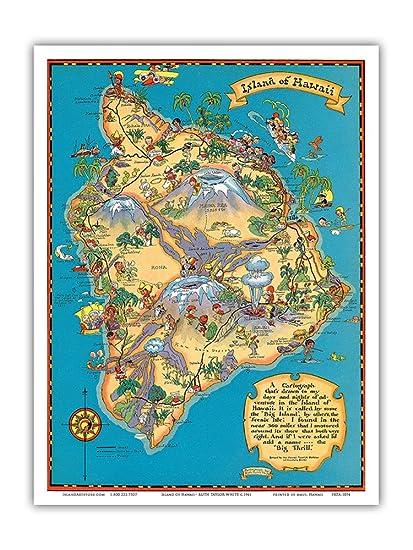 photo about Printable Map of Hawaii titled Hawaiian Island of Hawaii (Substantial Island) Map - Hawaii Vacationer Bureau - Traditional Hawaiian Coloured Cartographic Map by way of Ruth Taylor White c.1941 - Hawaiian