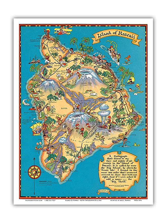 Amazon Com Hawaiian Island Of Hawaii Big Island Map Hawaii