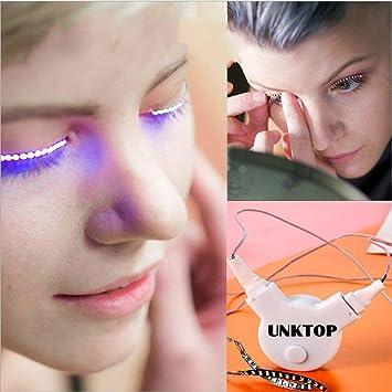 46810ae797b Amazon.com : LED Eyelashes UNKTOP Waterproof LED Light F. Lashes Luminous  Shining Charming Eyelid Tape for Party Bar NightClub Concerts Birthday Gift  ...