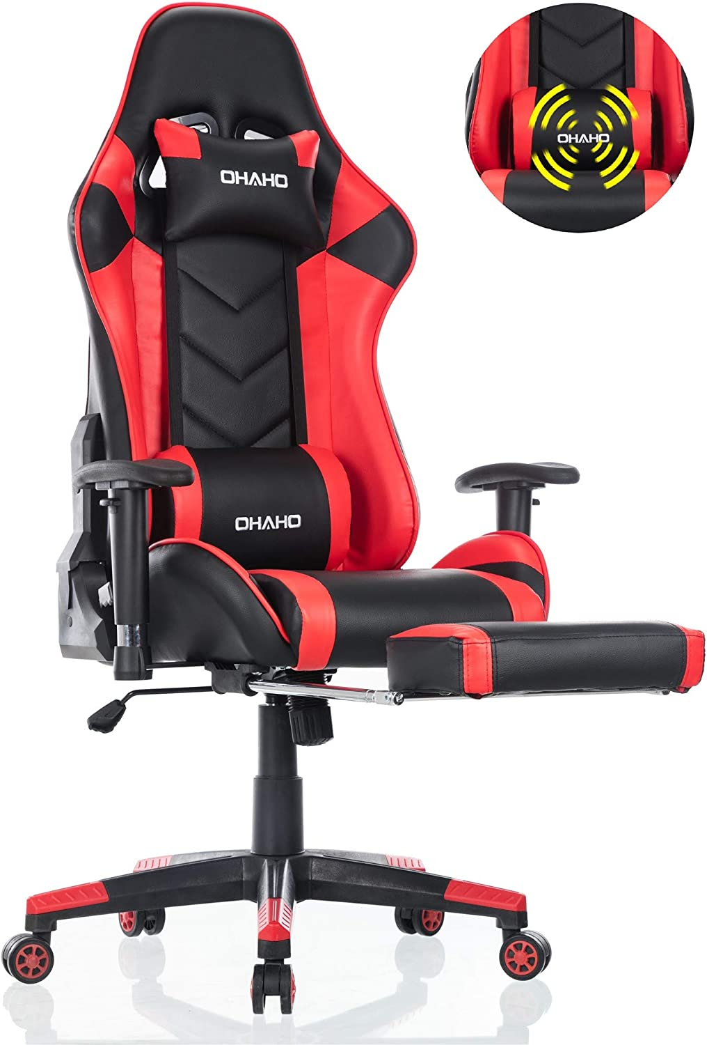 Vitesse Gaming Chair Sillas Gaming Video Gaming Chair Ergonomic Computer Desk Chair High Back Racing Style Comfortable Chair Swivel Executive Leather Chair with Lumbar Support and Headrest Black