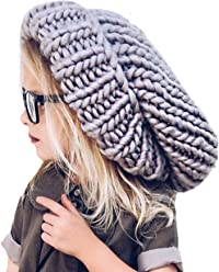 c52a50e9b72 Neon Eaters Oversize Knit Slouchy Beanie - Gray - Chunky Large Womens Girls  Slouch Slouchie