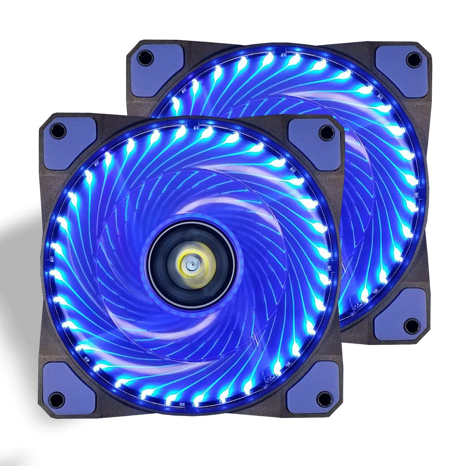 CONISY 120mm PC Case Cooling Fan Super Silent Computer LED High Airflow Cooler Fans - Blue (2 Pack)