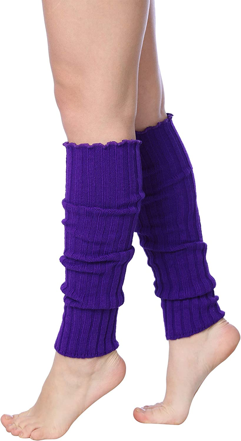 Isadora Paccini Womens Ribbed Leg Warmers for Party Sports LW48-PURPLE