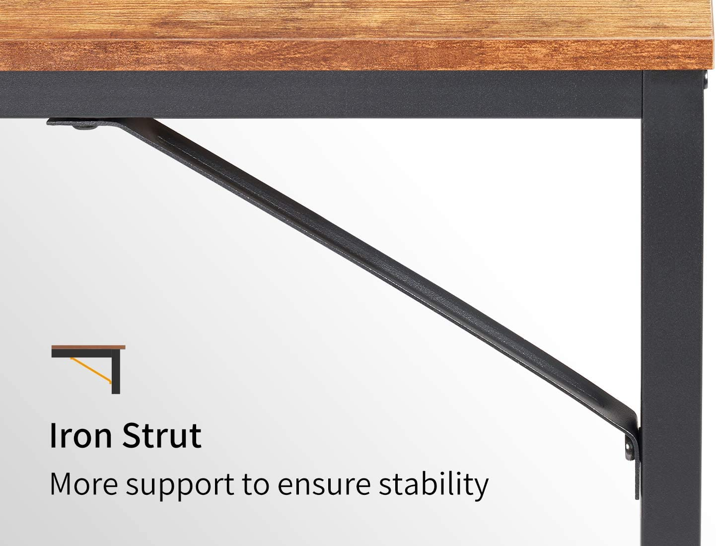 CubiCubi Computer Home Office Desk, 47 Inch Small Desk Study Writing Table with Storage Shelves, Modern Simple PC Desk with Splice Board, Rustic Brown and Black: Kitchen & Dining