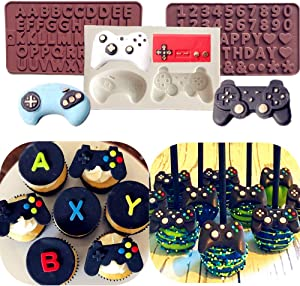 LaVenty 3 PCS Game Controller Mold Video Game Cake Mold Game On Cake Mold for Video Game Birthday Party Supplies Video Game Party Favors