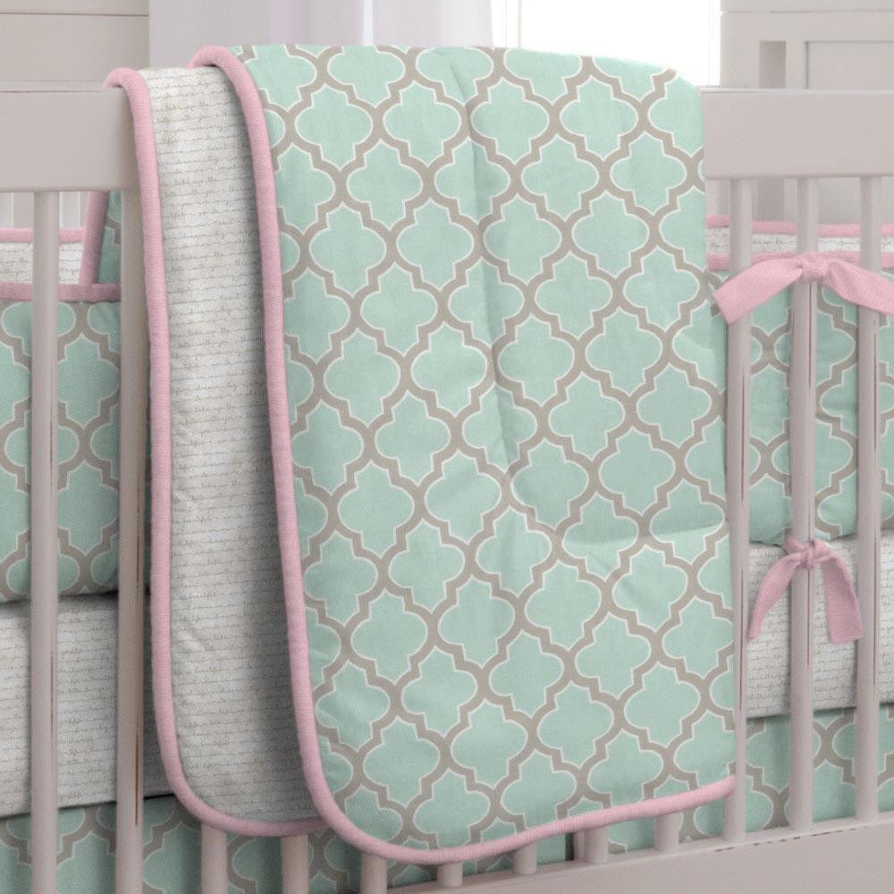 Carousel Designs Mint and Pink Quatrefoil Crib Comforter