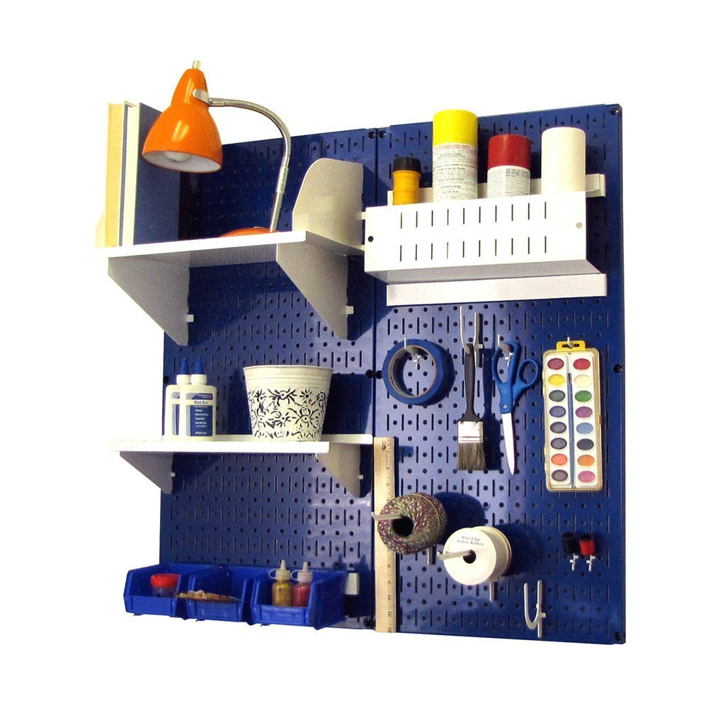 Wall Control Hobby Craft Pegboard Organizer Storage Kit, Blue/White