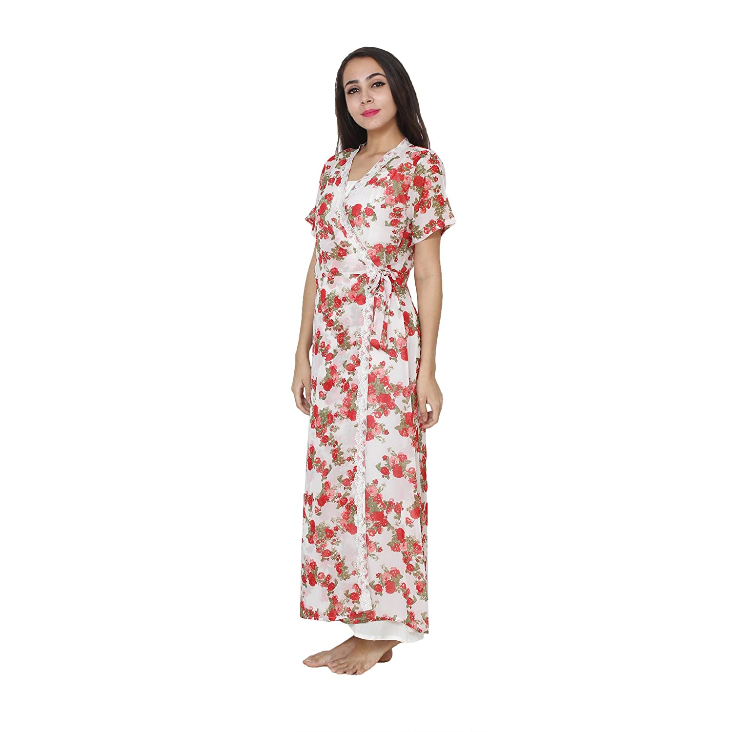 ea7765295d Patrorna Women s A Line Nighty Night Dress with Lace Trim Robe in Off-White  (Size S-7XL