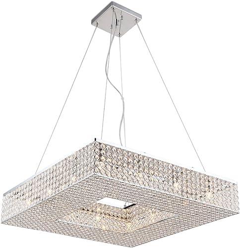 Deluxe Lamp Square Crystal Shade Chandelier, 12 Light, Diameter 24