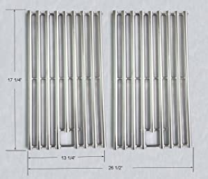 GS6342 NEW design Stainless Steel Cooking Grid Replacement for Select Gas Grill Models by Kenmore, Nexgrill and Others, Set of 2