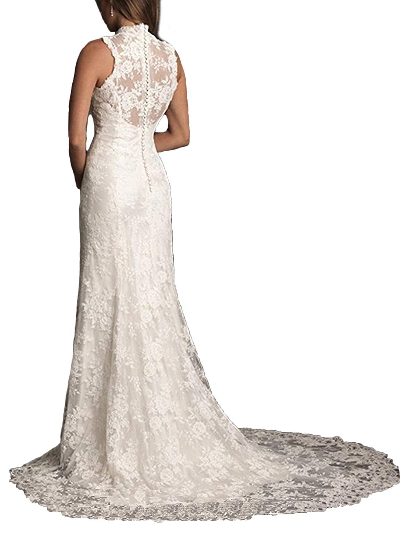 Beige Ellenhouse Women's 2019 Lace Long Vintage Country Style Bridal Wedding Dress
