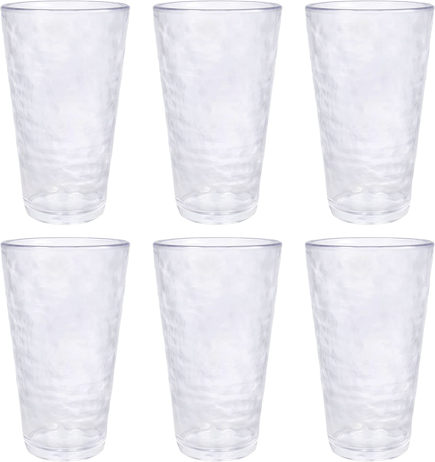 MARCUS HOME- Premium Acrylic Drinking Glass, Set of 6, 23.5 oz, BPA-Free, Clear