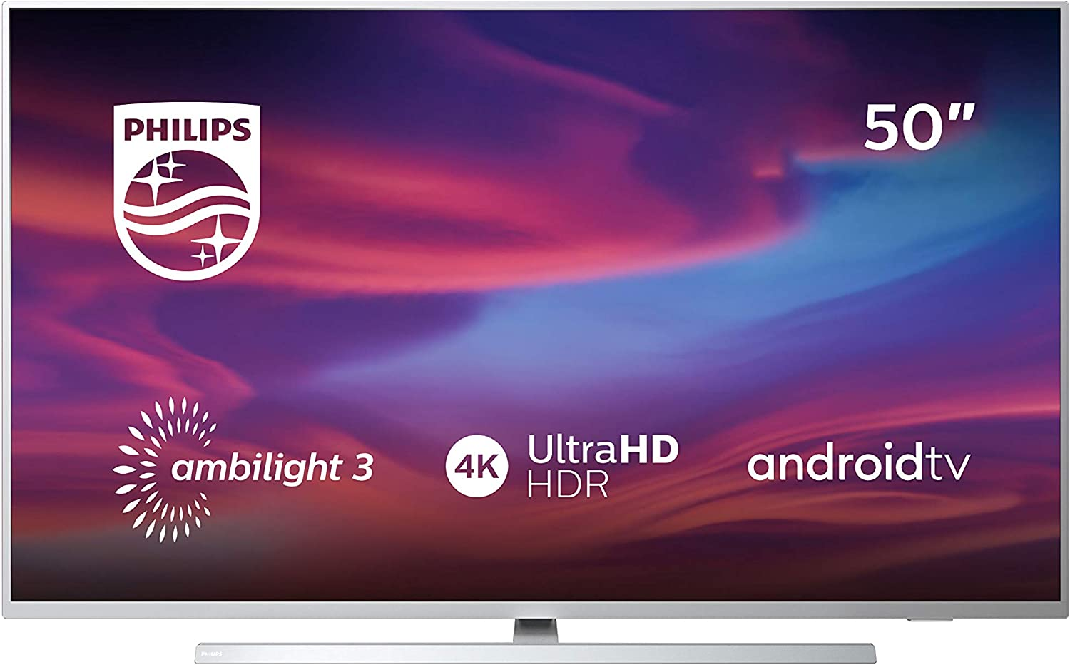 Televisor Philips Ambilight 50PUS7304/12 Smart TV de 126 cm (50 pulgadas)  con 4K UHD, LED TV, HDR 10+, Android TV, Google Assistant, Dolby Atmos y  compatibilidad con Alexa, color plata claro: Amazon.es: Electrónica