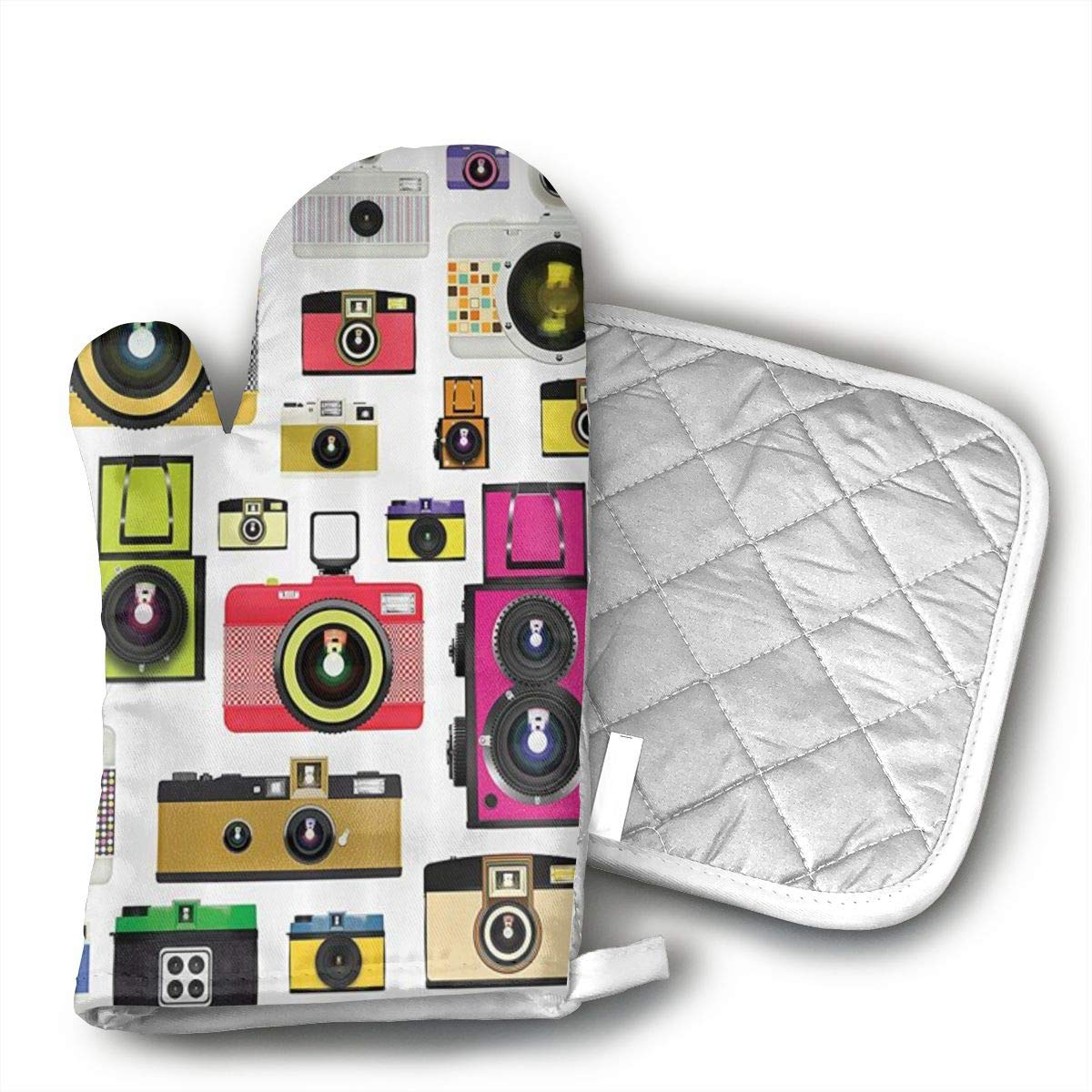 not Photographic Camera Oven Mitts,Microwave Mitts,Kitchen Glove Heat Resistant,Baking,Barbecue Potholder