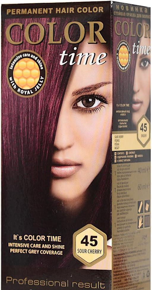 Color time, tinte permanente para el cabello de color guinda 45